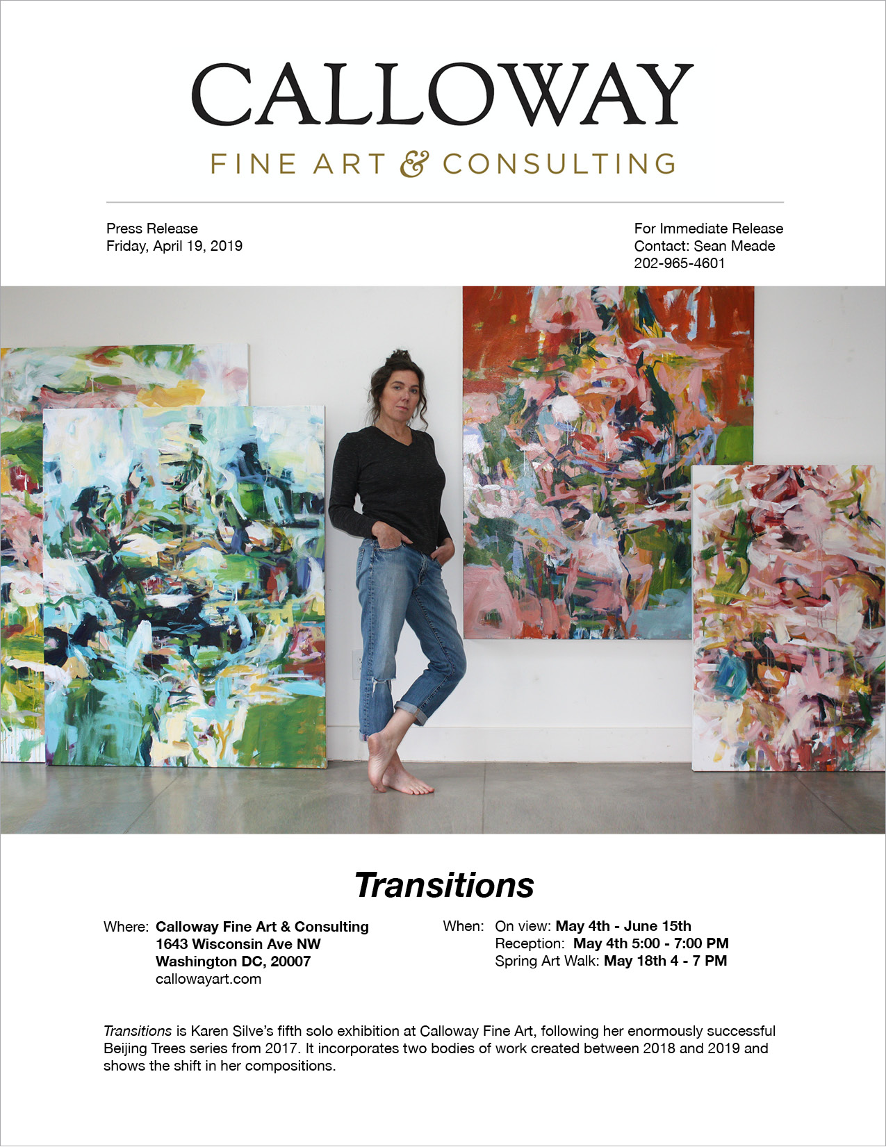 — Press Release: Karen Silve,  Transitions , May/June 2019