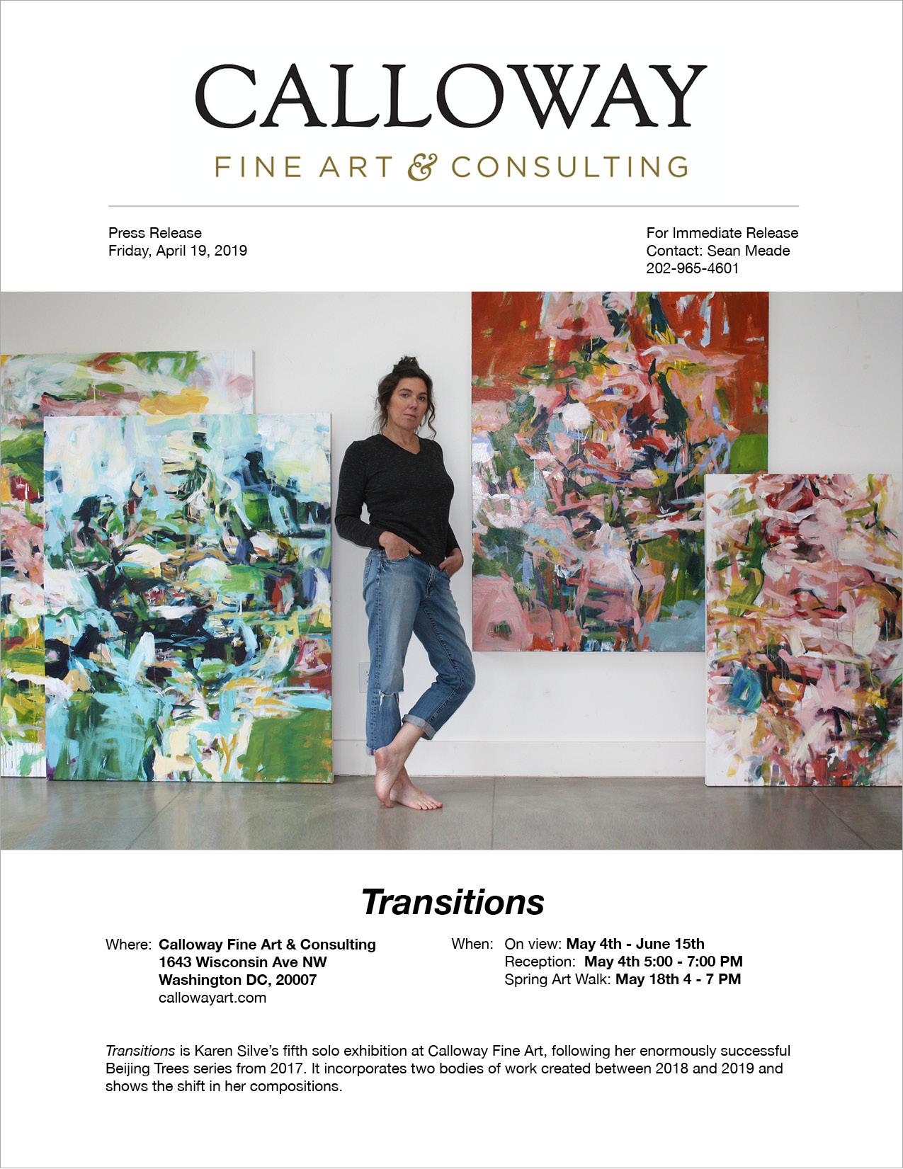 — Press Release: Karen Silve,  Transitions , May/June 2019