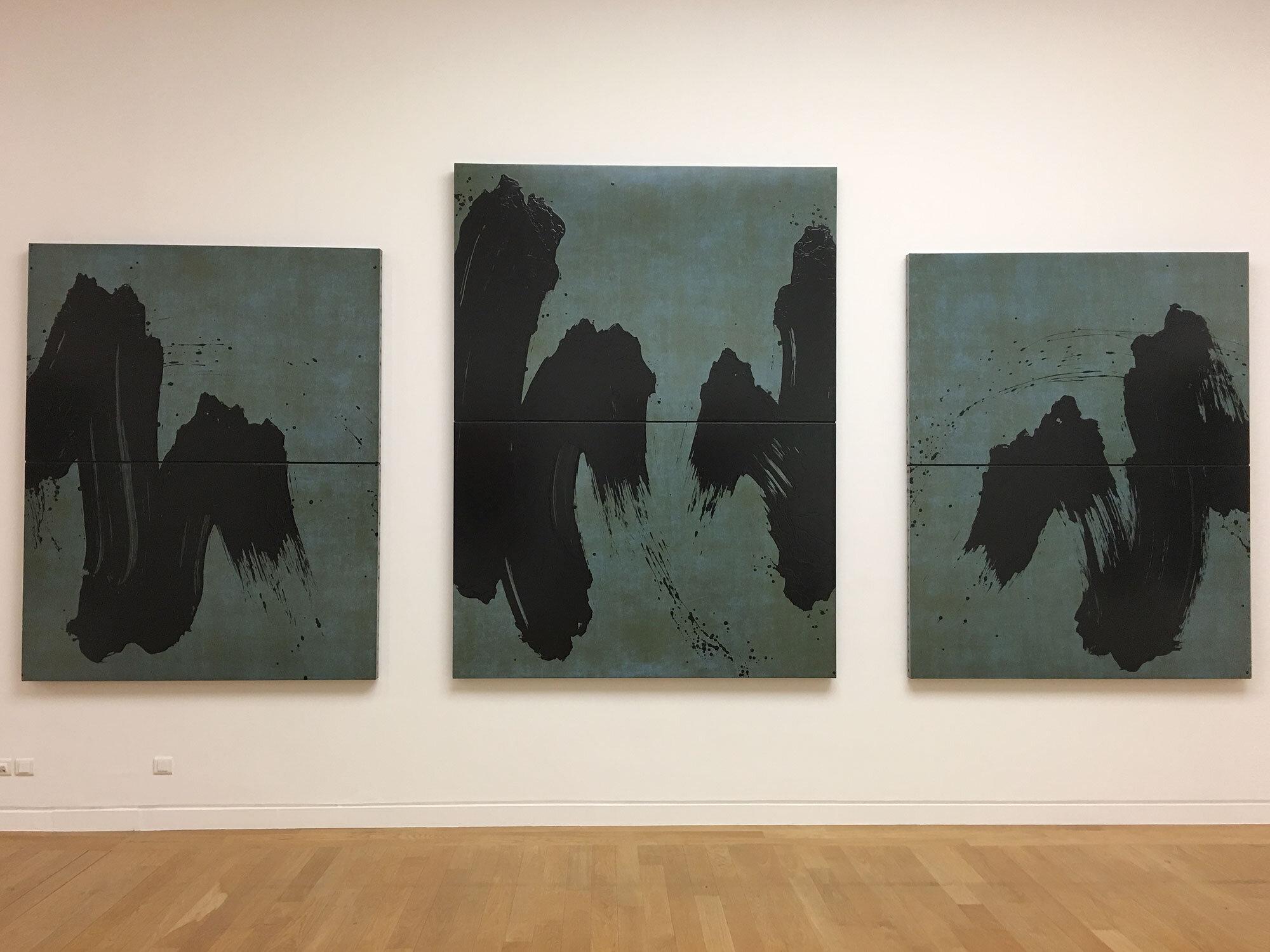 Fabienne Verdier,  Paysage de l'Oberland `` la tombée du jour I, II et III , 2008. Right and left: 201 x 160 cm, center: 240 x 180 cm.
