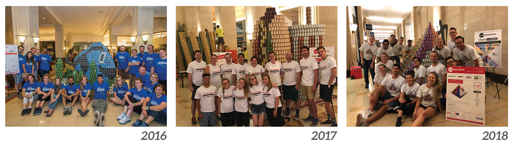 Our last three CANstruction designs: Just Keep Giving (2016), Chicago Style (2017), and Stepping Up for Hunger (2018)