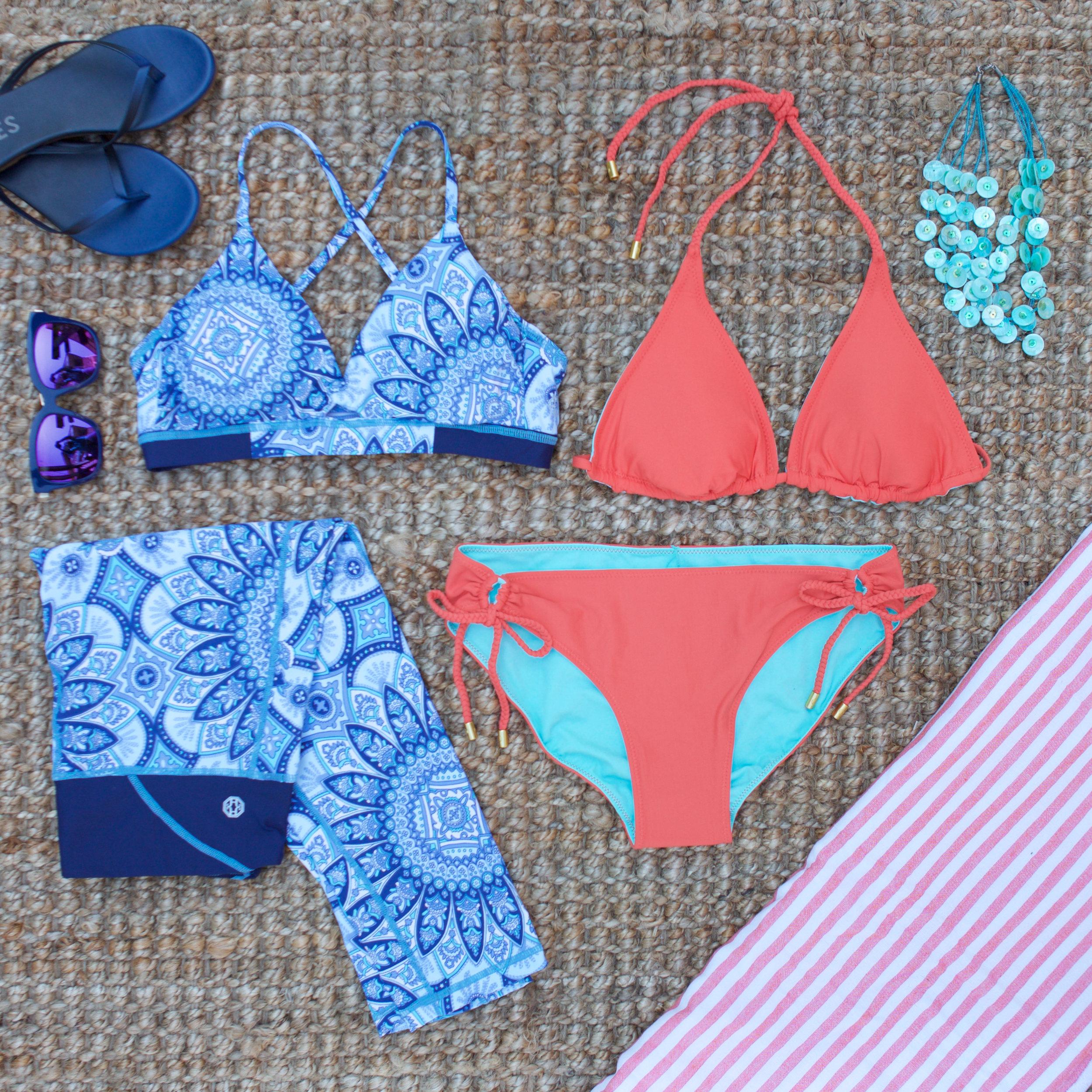 Lotus Capri  AND  Serenity Bra  AND  Reversible String Bikini Top with Braid-Coral  +  Reversible Tunnel Hipster Bikini Bottom with Braid-Coral