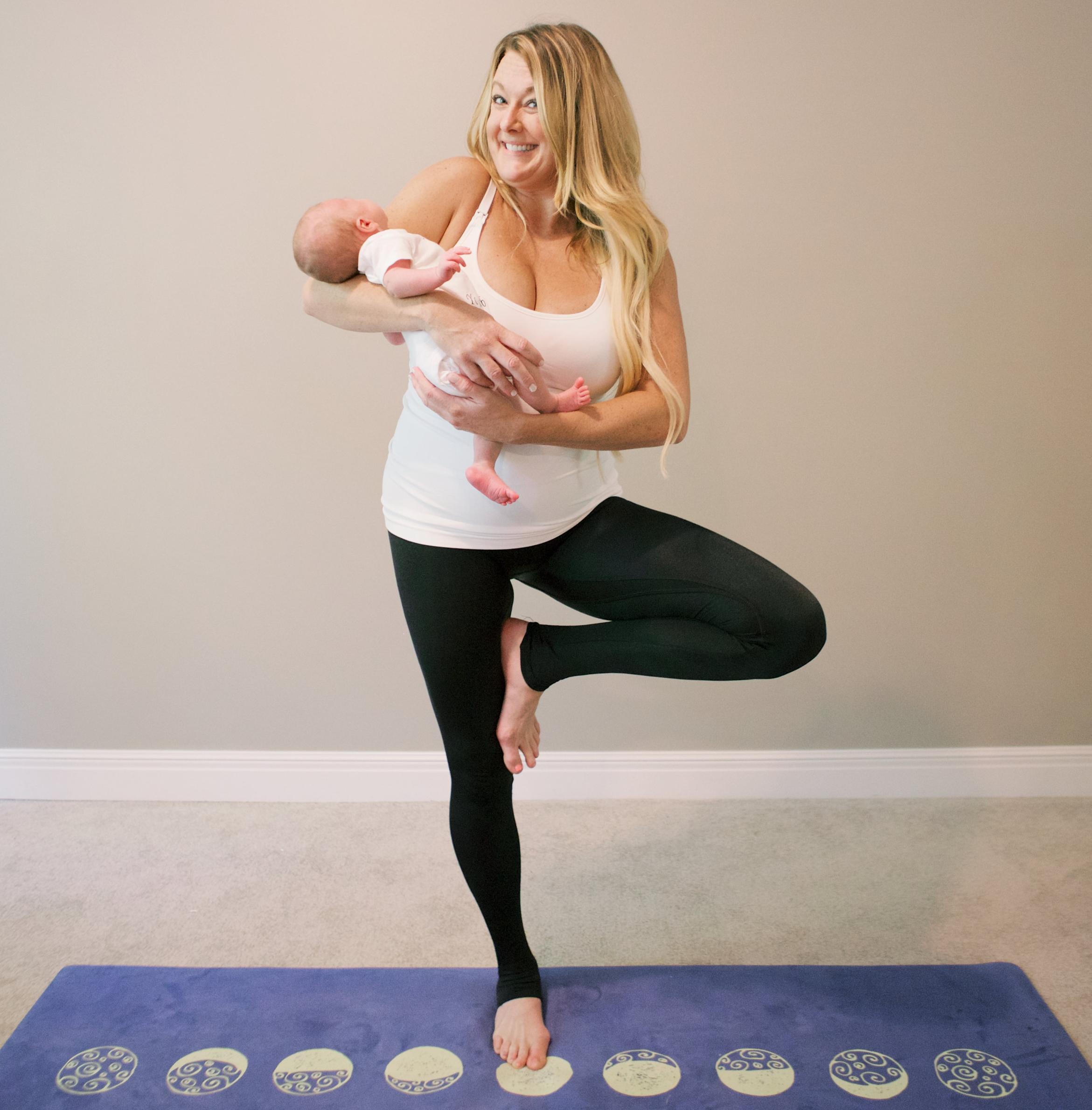 GORGEOUS Yoga Mat =  ZURA Yoga  BEST Nursing Cami =  Bravado Designs  Yoga Pants =  KDeer