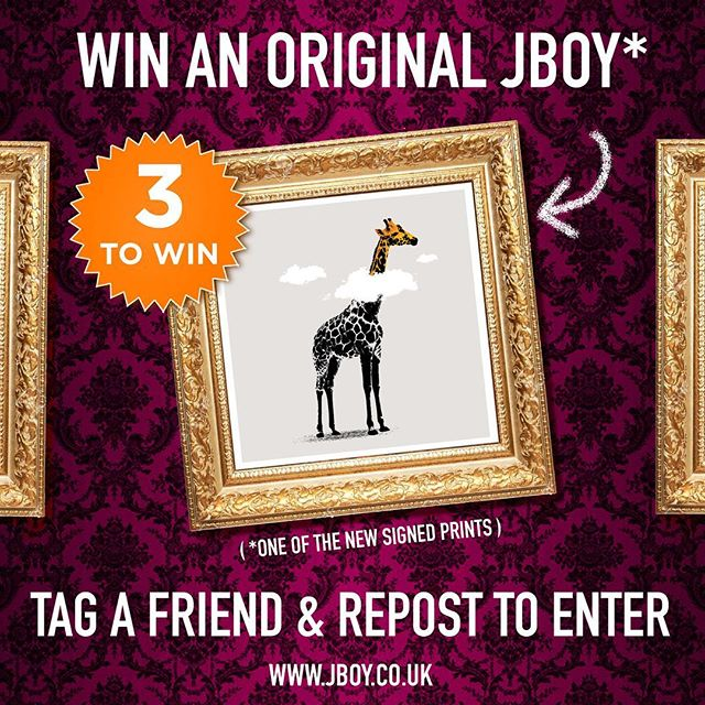 (EASILY) WIN A SIGNED PRINT! TAG A FRIEND AND REPOST TO ENTER... 3 TO GIVE AWAY WORLDWIDE CLOSES 25TH MAY 2018 / 8PM UK TIME.  GOOD LUCK 🦒🦒🦒 A few also available in my shop if you dont want to share this terrible image. LINK IN BIO.  Winner will be announced here just after the closing time.  #competition #win #art #artwork #banksy #urbanart #streetart #stencilart #print #sprayart #graffitiart #stencil #giraffe #clouds #daydreamer #banksyart #artcollector #screenprint #safari #zoo #african #poster