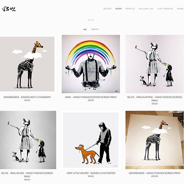 Updated the site with some prints from the drawer. Spring clean. LINK IN BIO. GET 25% OFF ALL ORDERS OVER £90 - USE CODE: SPRINGCLEAN  #art #artwork #banksy #urbanart #streetart #stencilart #print #sprayart #graffitiart #stencil #giraffe #clouds #daydreamer #banksyart #artcollector #screenprint #safari #zoo #african #poster #clown #thesimpsons