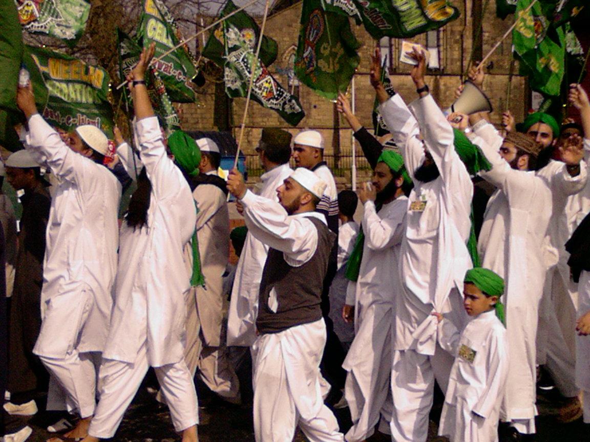 Image:drinksmachine,  Flickr  Eid Milad-un-Nabi procession in Ribbleton,Preston, celebrating the birth of the Prophet Mohammed
