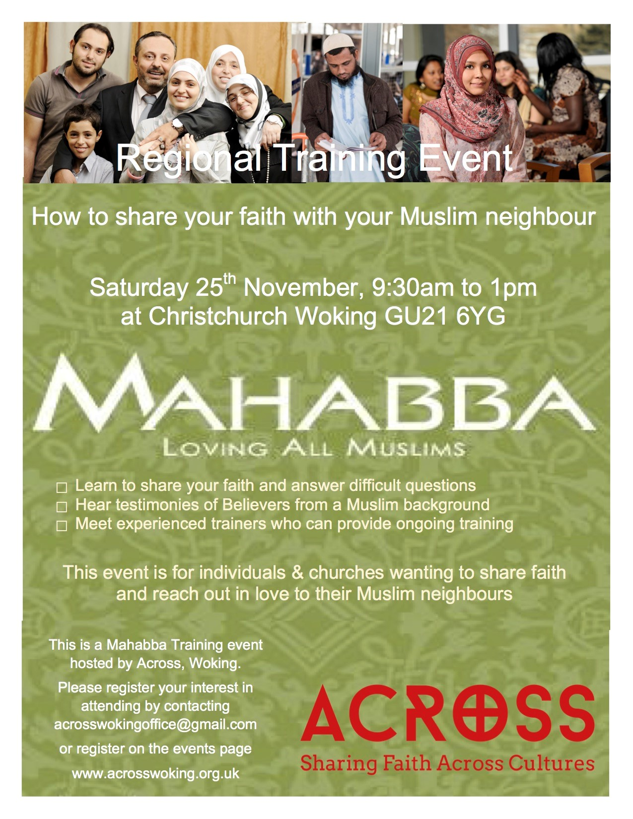 Mahabba Woking training event: How to share your faith with your Muslim neighbours