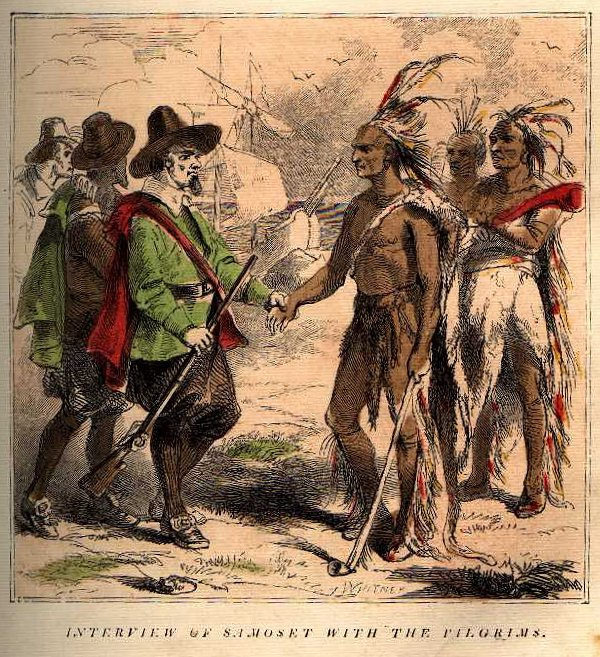 Samoset meeting the Pilgrims. This painting was from 1853 and is not historically accurate. Samoset would most likely not have been wearing feathers in his hair.