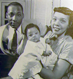 Martin Luther King, Jr., his wife, Coretta, and their daughter, Yolanda.