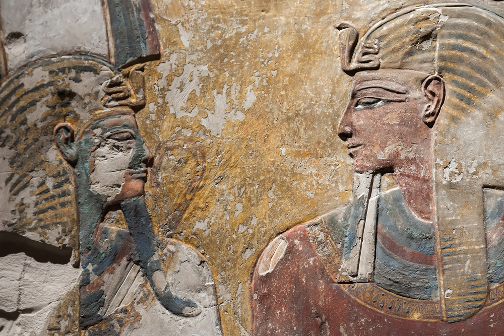 Notice the eye makeup in this relief from Pharaoh Seti's tomb. Eye makeup was worn by both men and women. Photo credit: Anna Pakutina / Shutterstock, Inc.