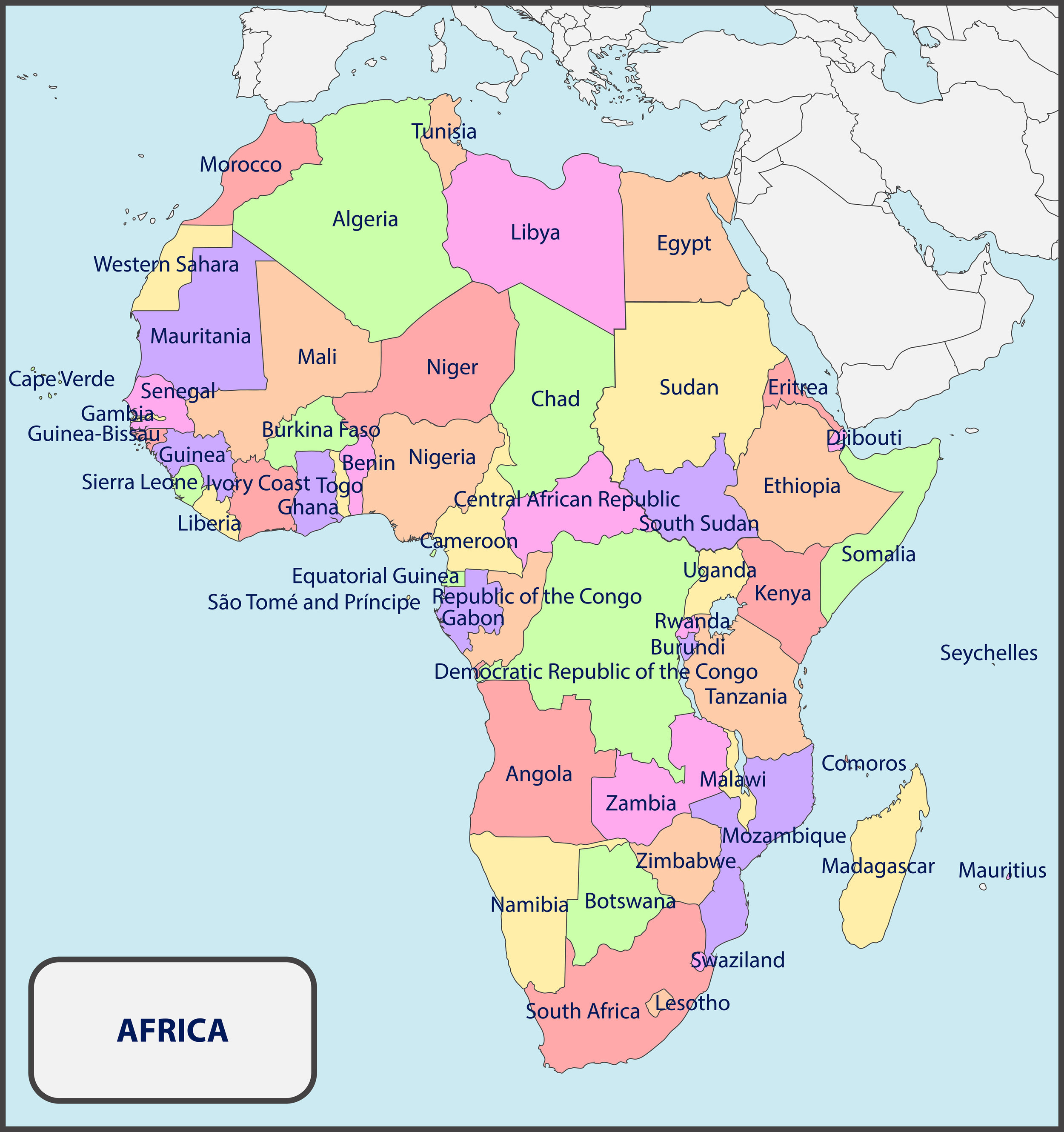 This map of Africa shows the locations of Egypt and Ethiopia on the continent.