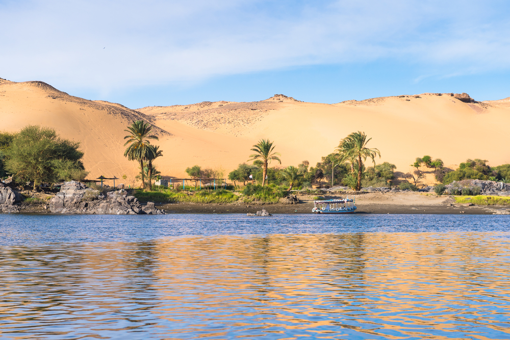 The Nile brings water and life to the Sahara Desert.