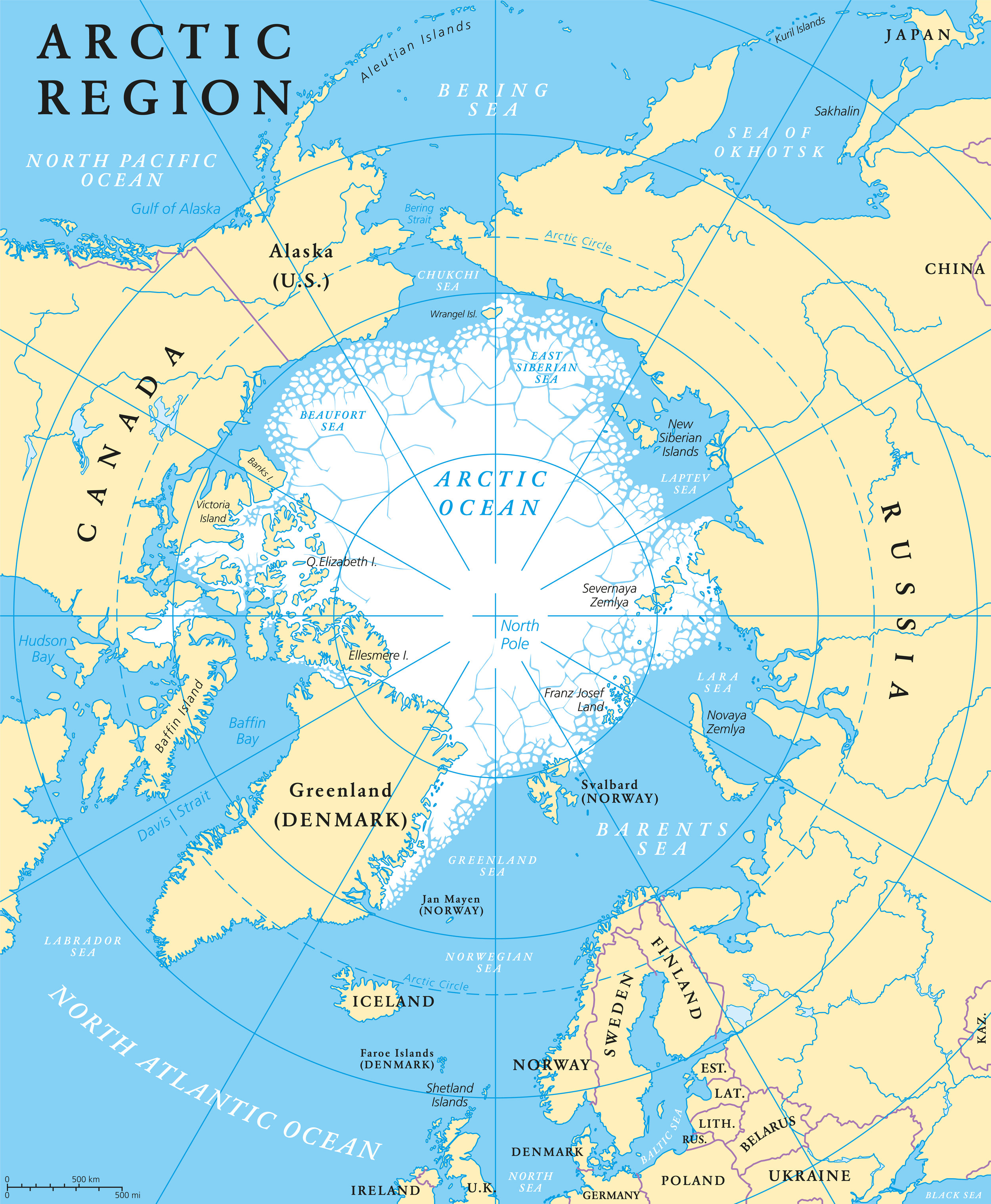 The dotted circle shows the boundary of the Arctic Circle. Notice all of the countries that have land within the Arctic Circle.