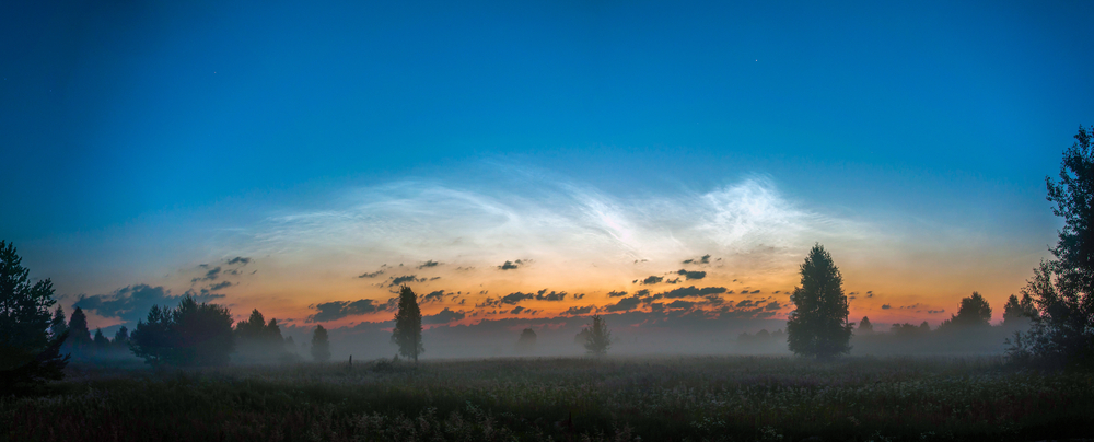 Noctilucent clouds at dawn