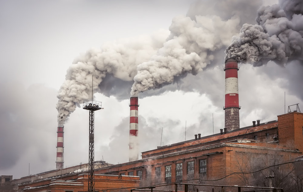 Factories put carbon dioxide into the atmosphere.