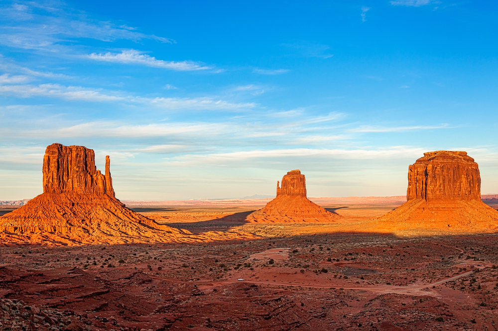 The amazing rocks of Monument Valley were shaped by weathering and erosion.