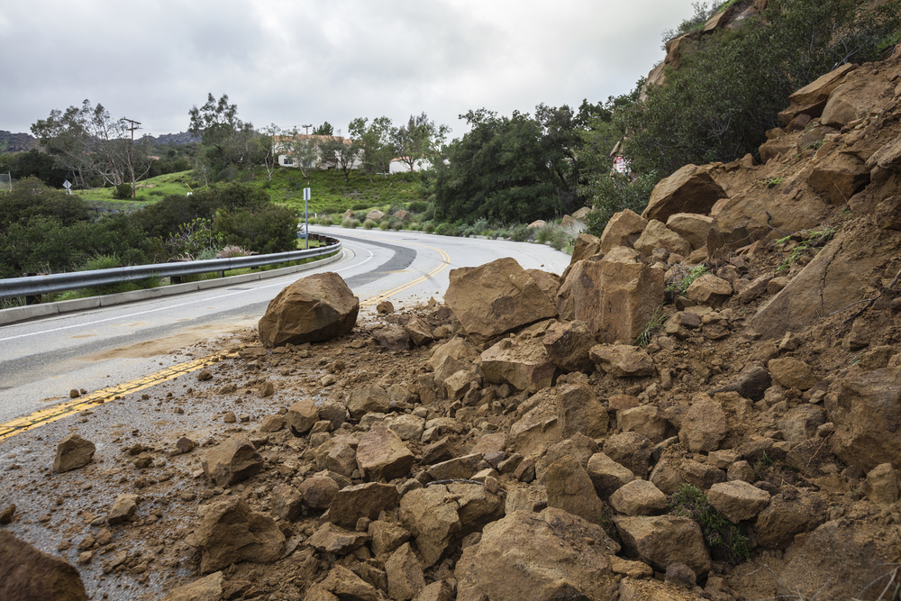 Rock slides can block the road.