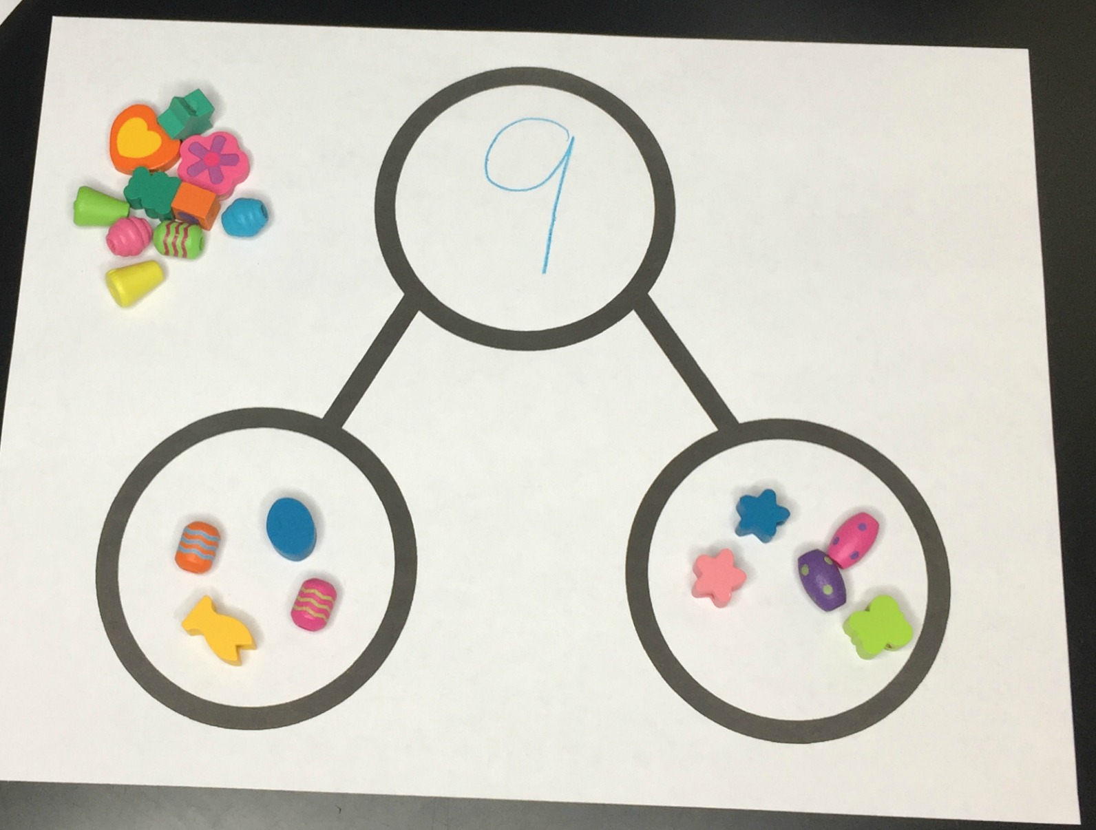 Kids can use manipulatives and number bonds together.
