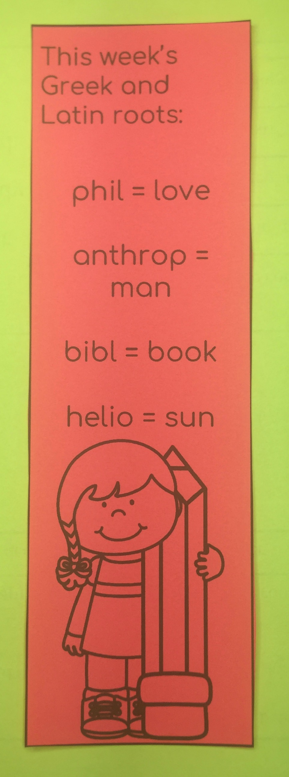 Having the right tools is important when teaching Greek and Latin roots.