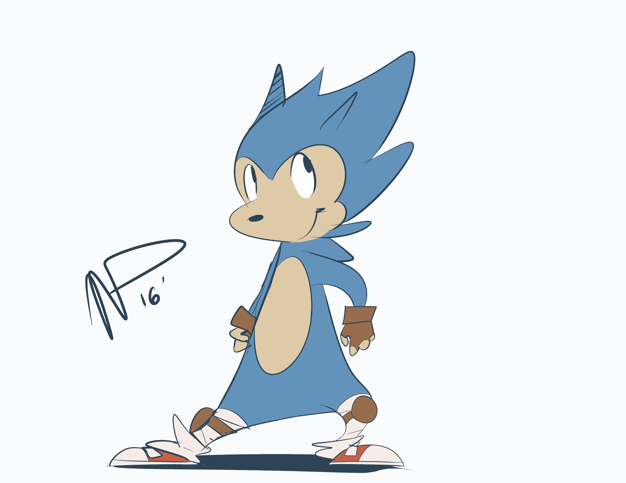 Sonic in someone's style to practice my cartooning.
