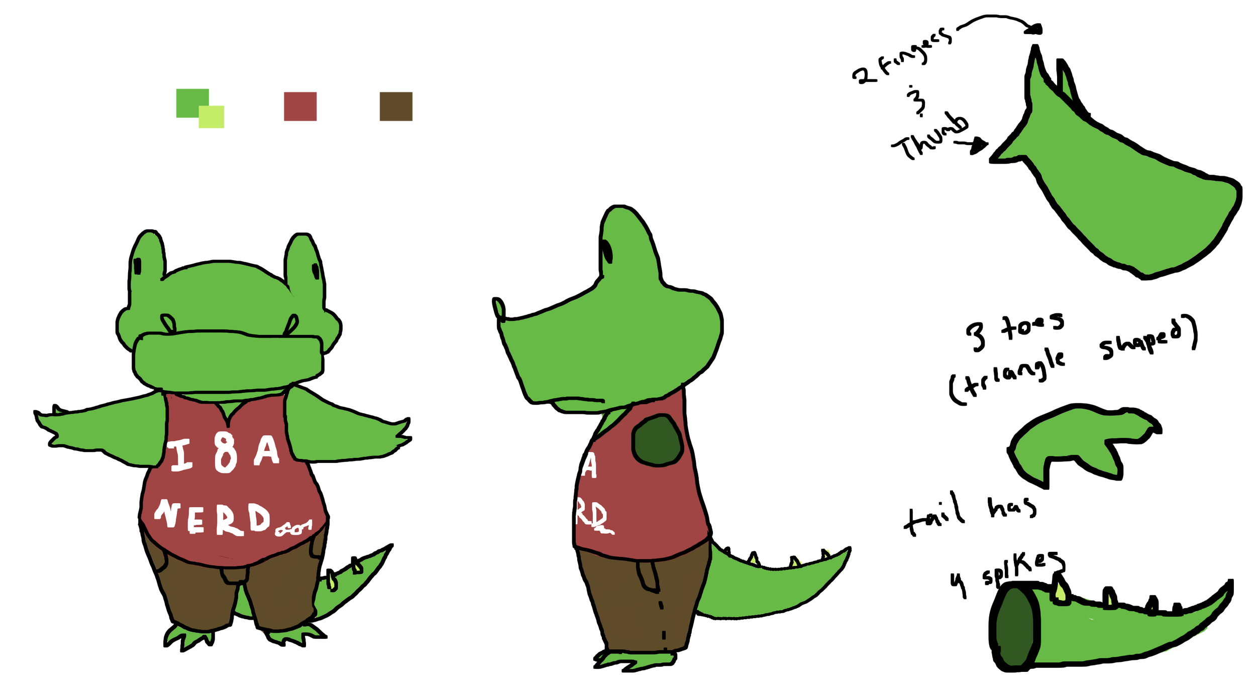 Added some color to the design. At first he was an Alligator so I started with green. Also I felt the salmon colored shirt kind of hints to the fact he's not as tough as he seems (or you know only tough guys wear pink, right?)