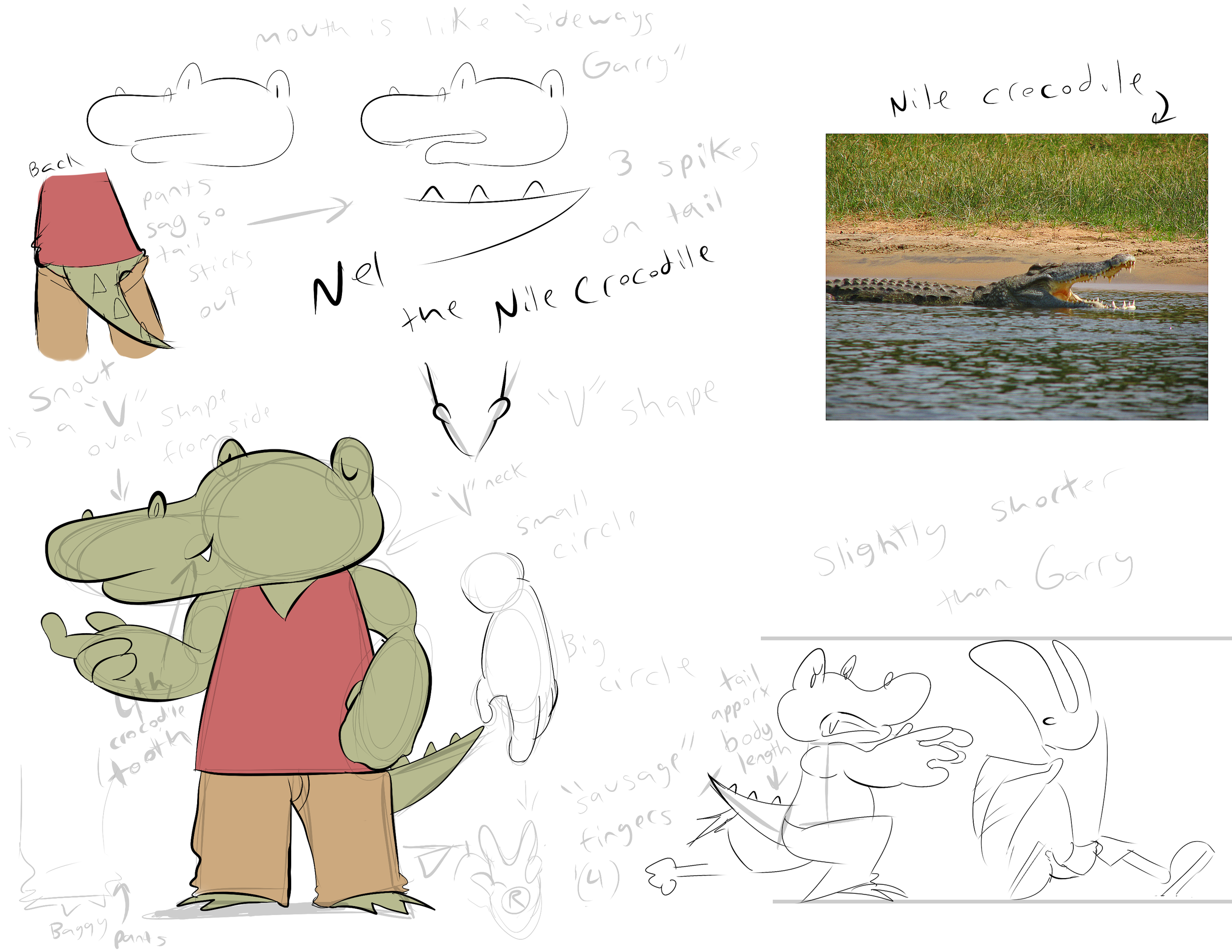 I redesigned this character about over half a year later. Kept his trade mark pink shirt, but this is when I made him a crocodile instead (crocodile works better with the name Nel in my head). His more rounded beak shows the more crocodile resemblance.
