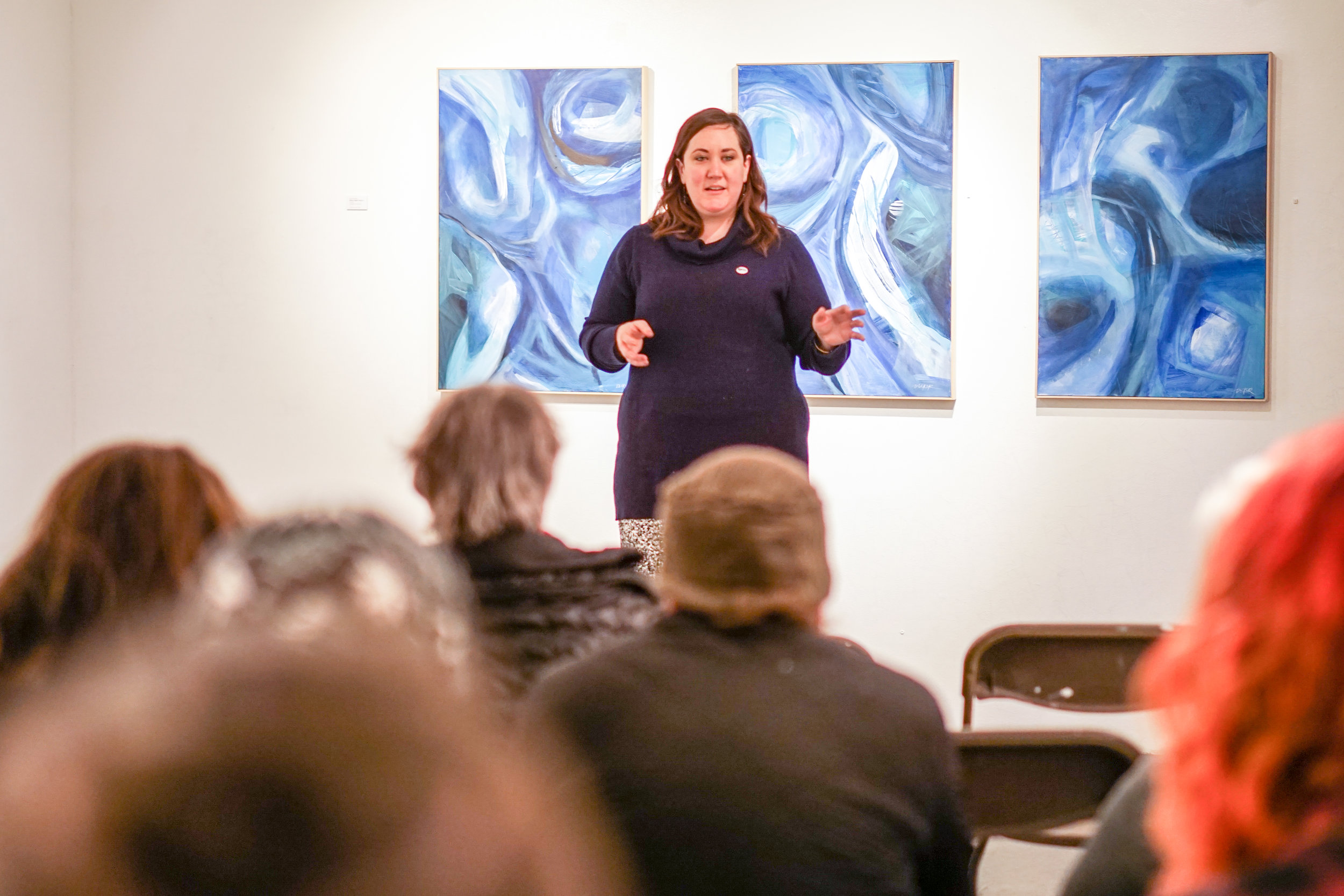 I deliver a curatorial talk in the Center Gallery of the International Gallery of Contemporary Art in Anchorage. As Gallery Manager, I have the opportunity to curate exhibitions, design programming, and educate the public on projects at the gallery.