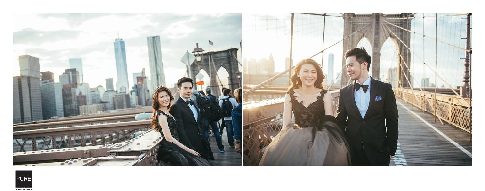 布魯克林大橋的日落好美:)