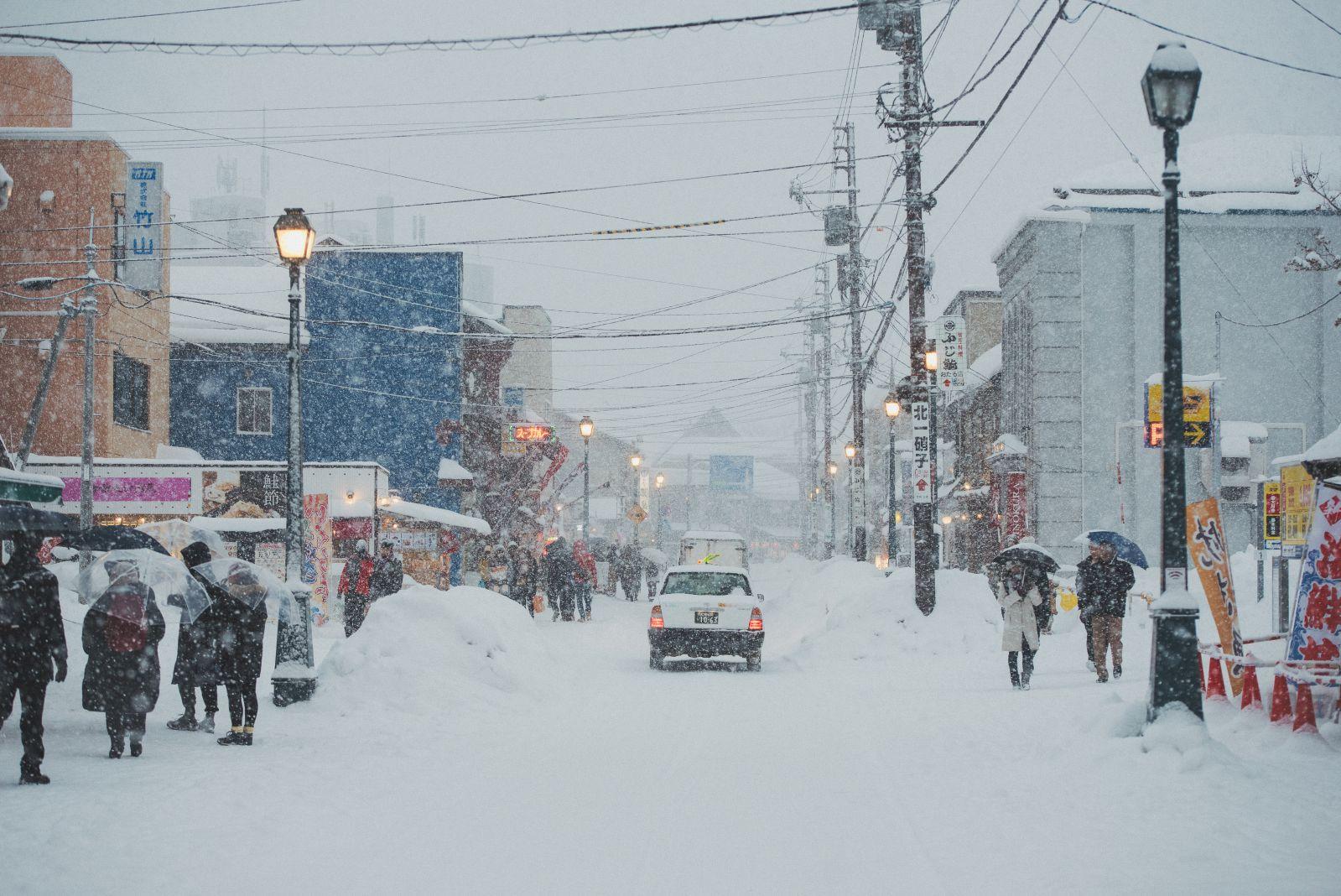 大雪拍攝,小樽運河雪景