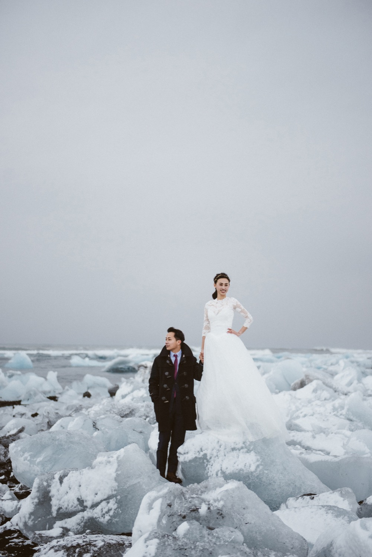 冰島婚紗,歐洲婚紗,鑽石沙灘,冰河湖婚紗