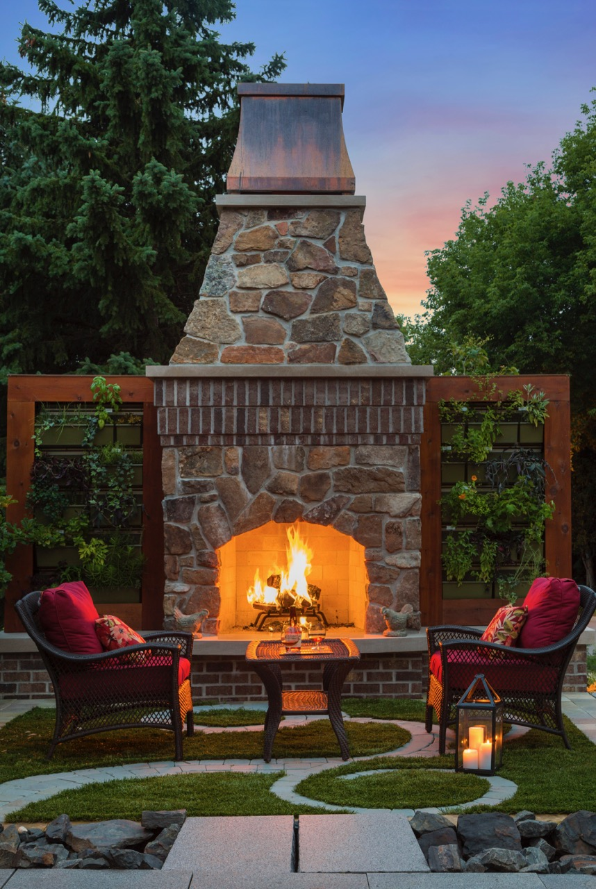 Mom's Design Build - Outdoor Fireplace Modern Patio Design