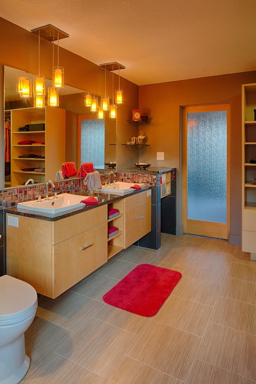 Moms Design Build - Bathroom Lighting Tile Remodel