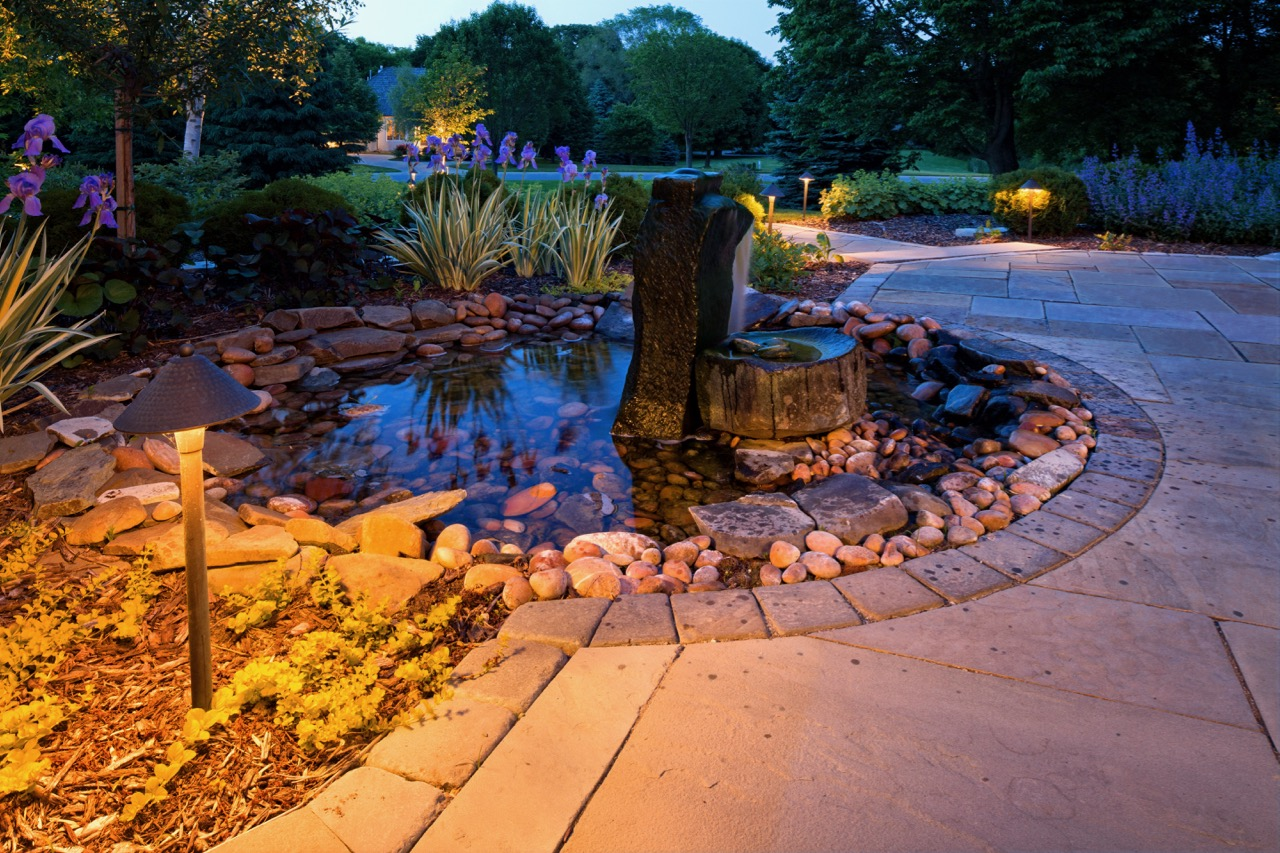 Moms Design Build - Front Yard Pond Patio Water Feature