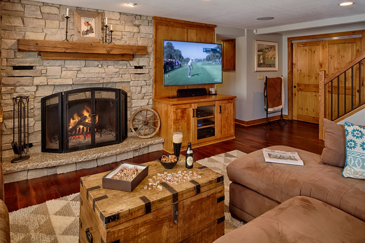 Mom's Design Build - Country Wood Basement Fireplace Mantel