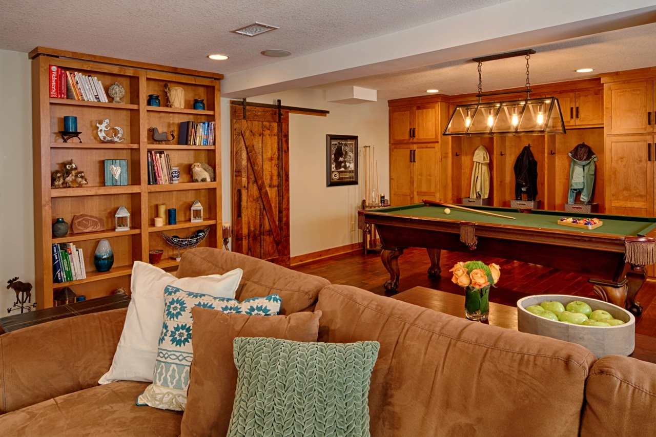 Mom's Design Build - Pool Table Basement Couch Barn Door