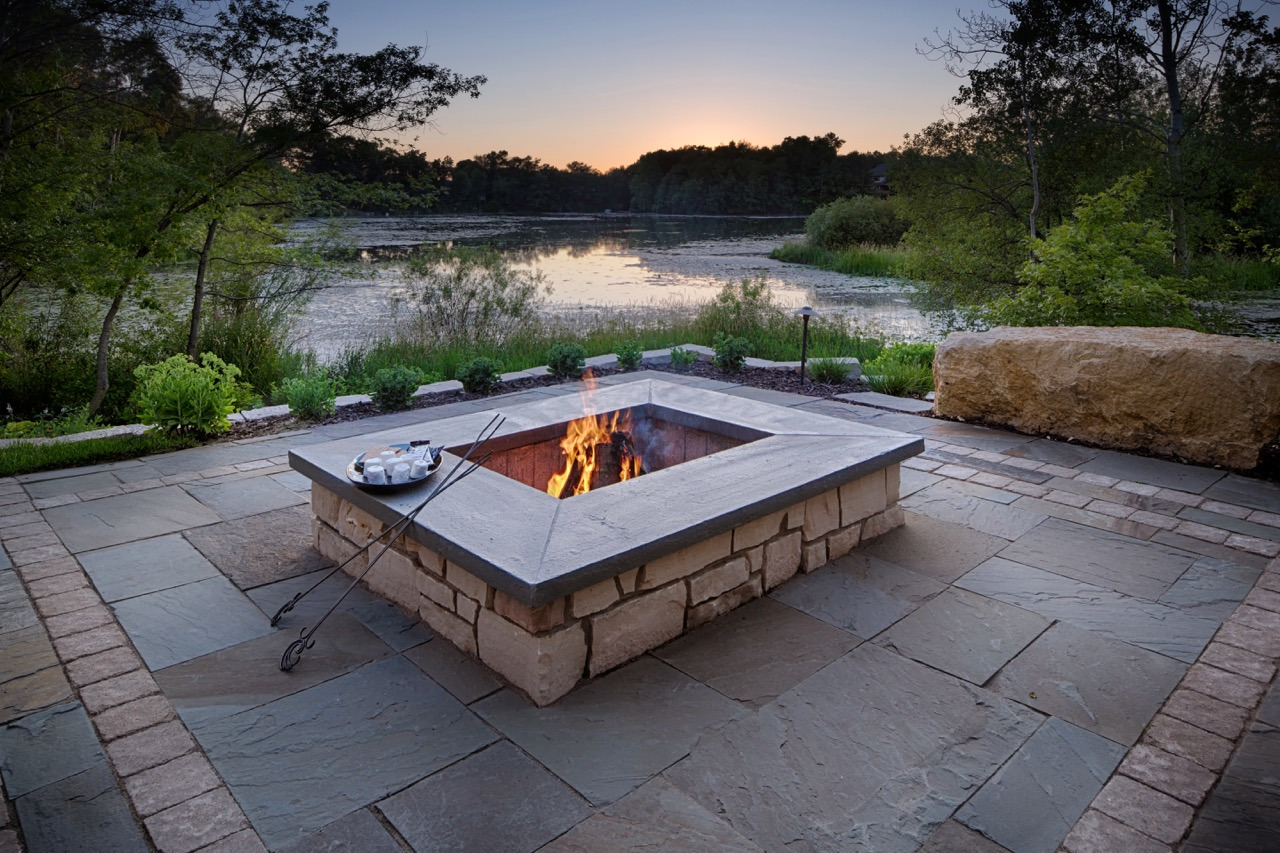 Mom's Design Build - Stone Fireplace Patio Firepit