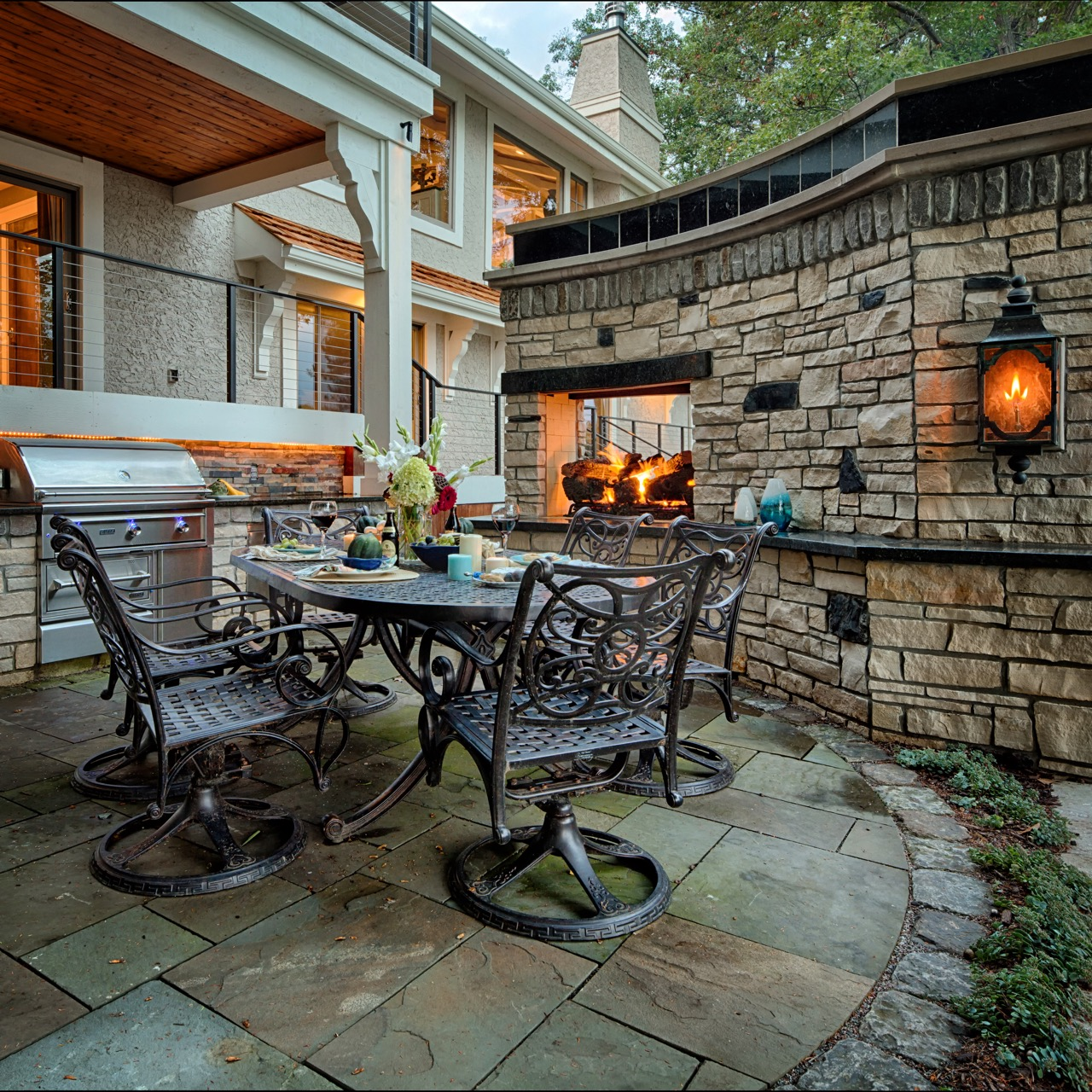 Mom's Design Build - Natural Gas Fireplace Backyard Kitchen