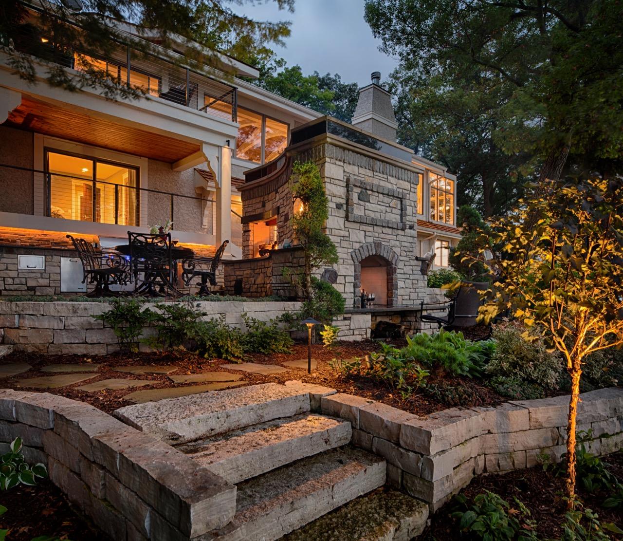Mom's Design Build - Backyard Firepit Outdoor Kitchen Landscape