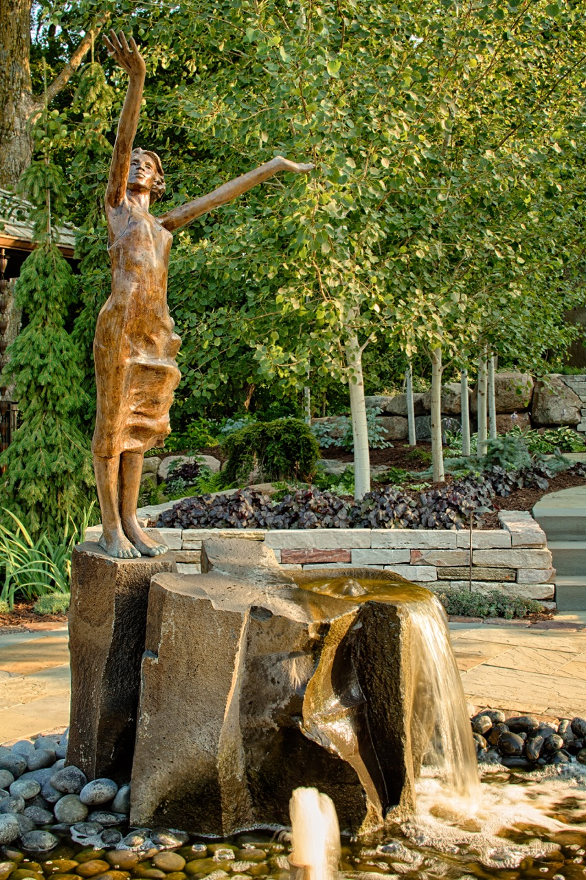 Mom's Design Build - Copper Statue Water Feature