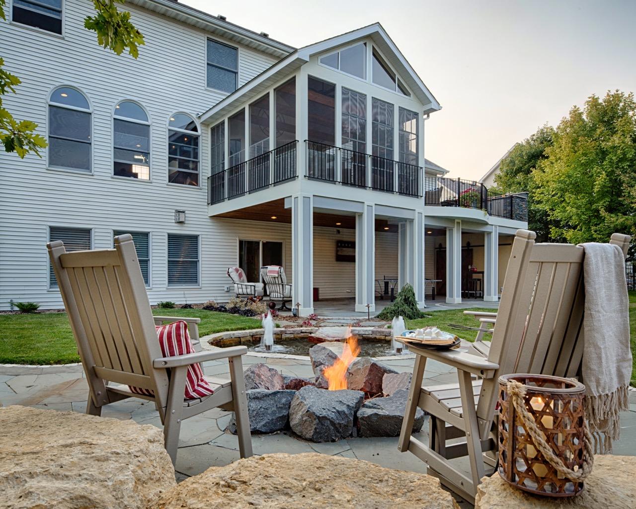 Moms Design Build - Backyard Landscape Porch Fire Place