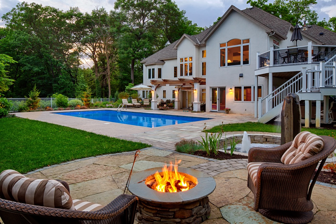 Mom's Design Build - Backyard Pool Natural Gas Fireplace