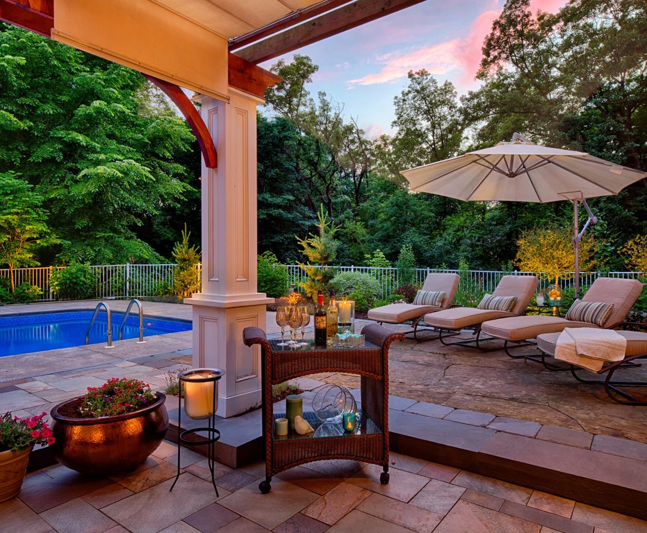 Mom's Design Build - Pool Furniture Umbrella Pergula Concrete surround