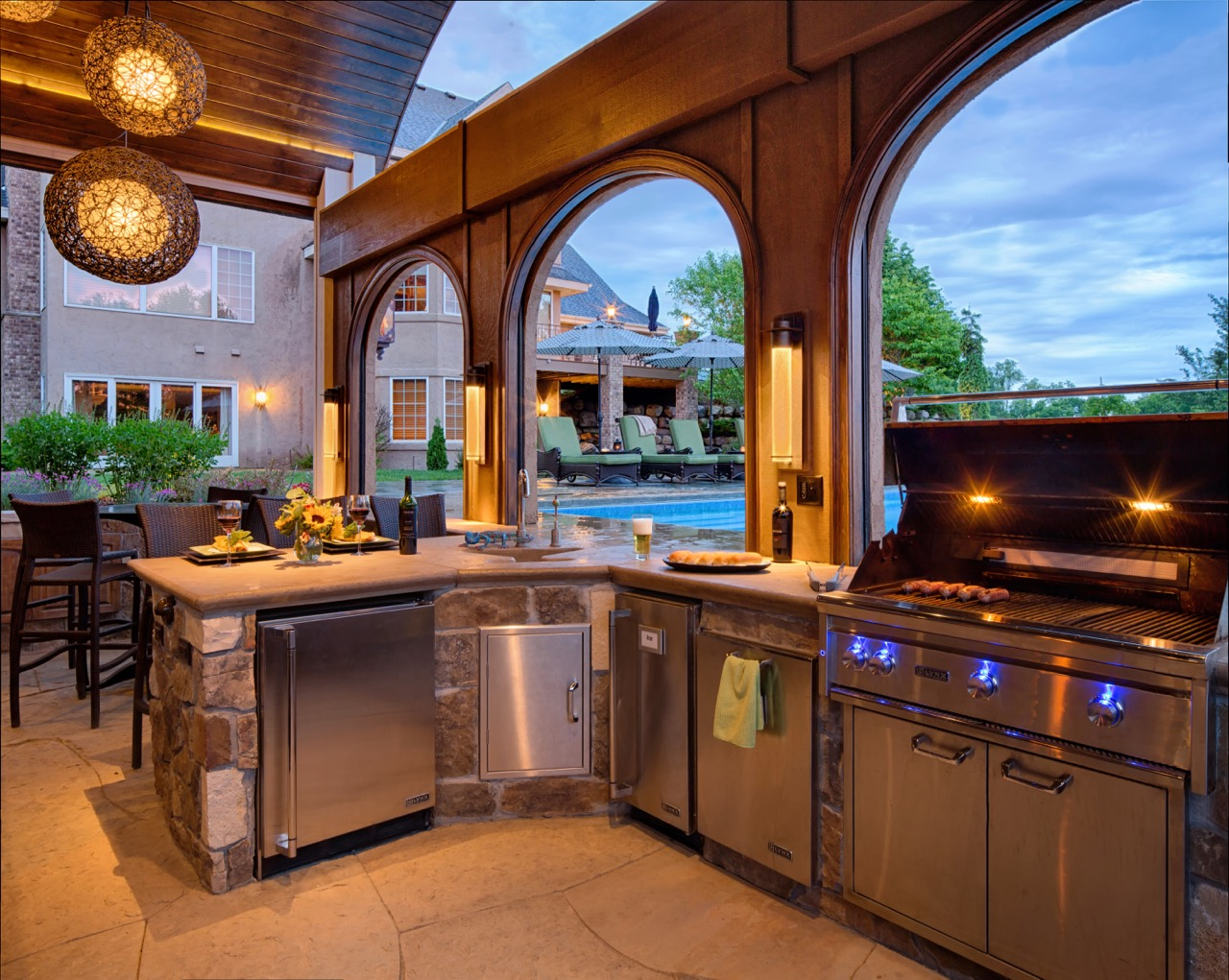 Mom's Design Build - Outdoor Kitchen Poolhouse