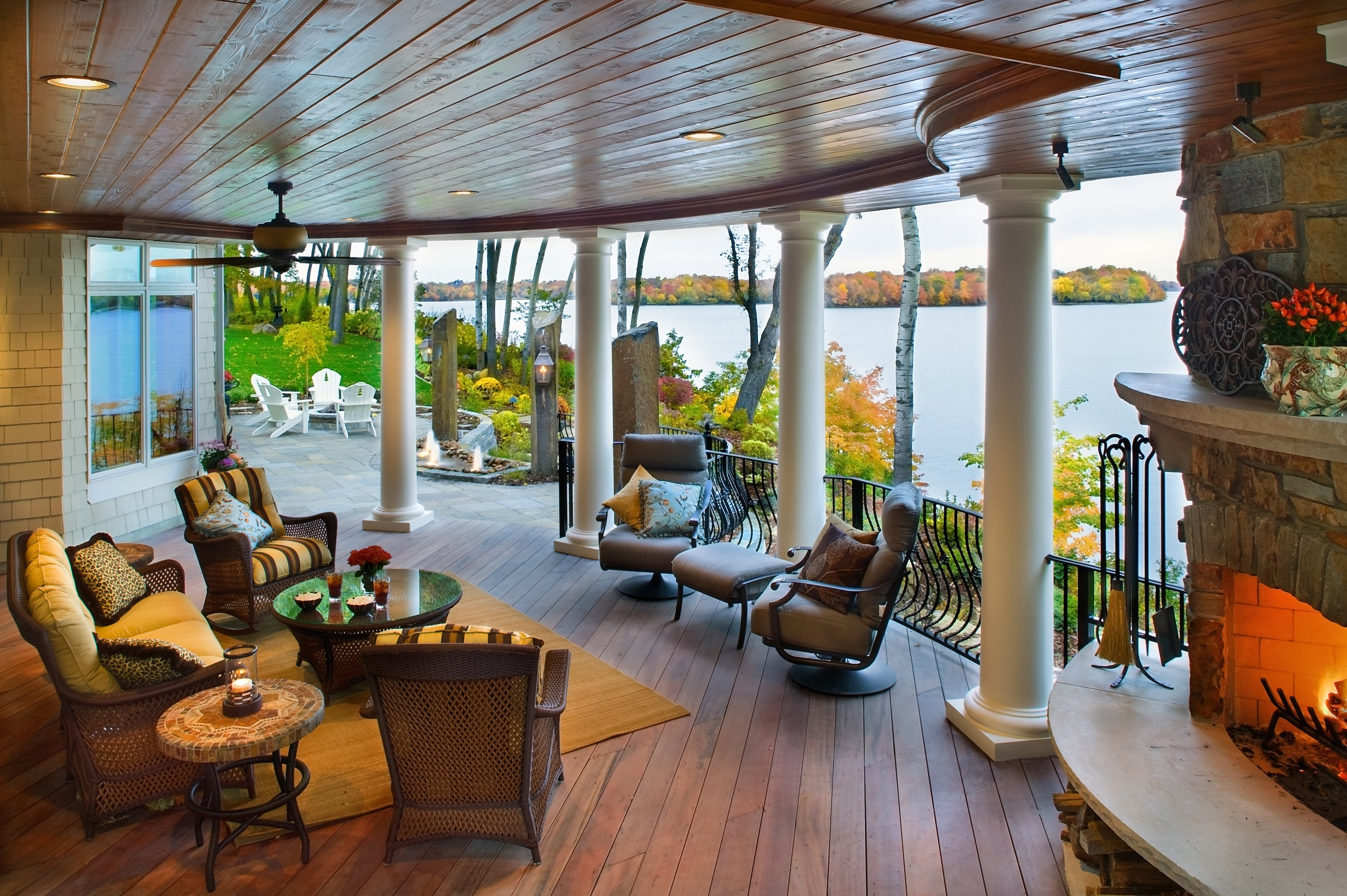 Moms Design Build - Lake Minnetonka Hardwood Deck Fireplace