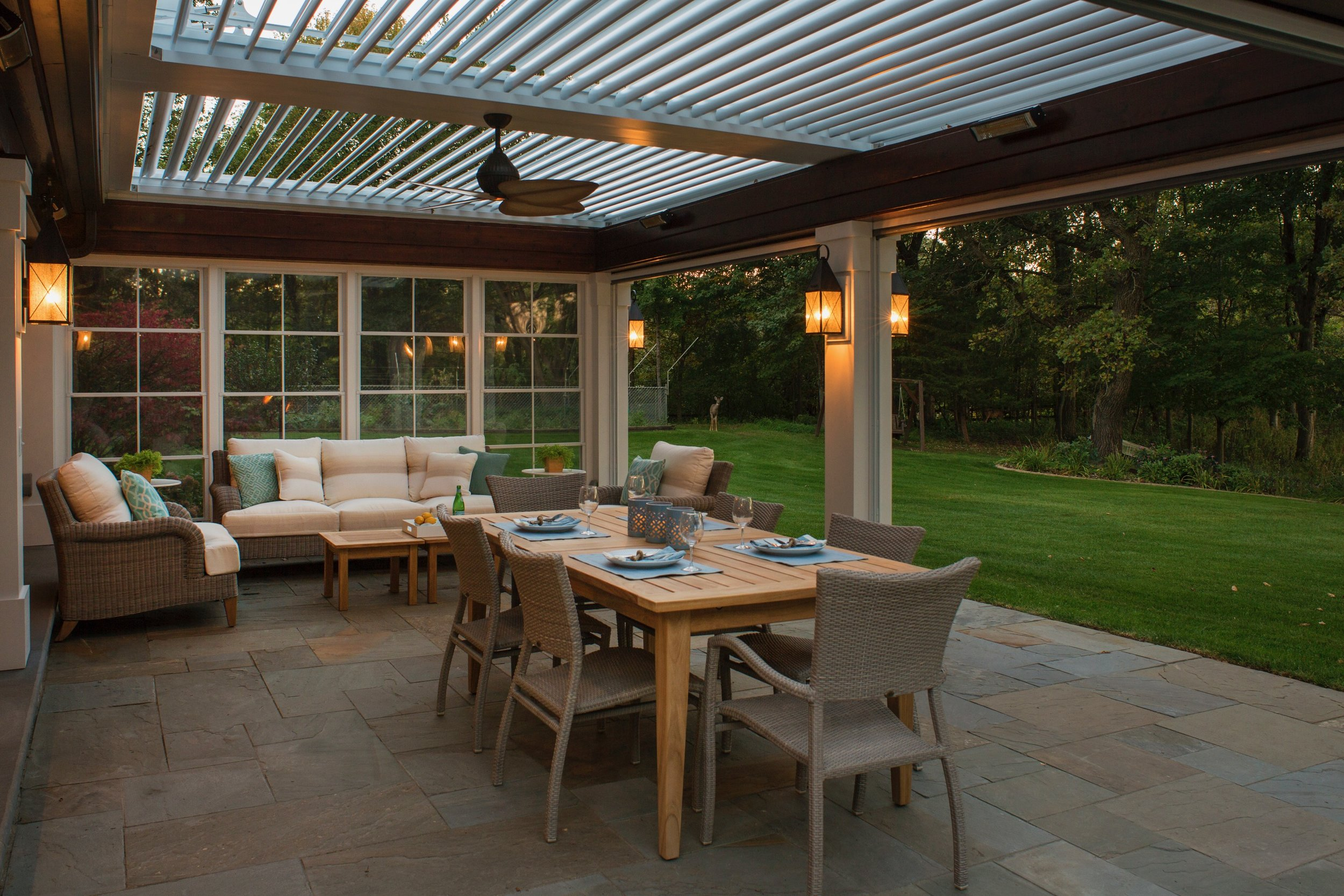 Mom's Design Build - Outdoor Dining Section With automated louvered roof