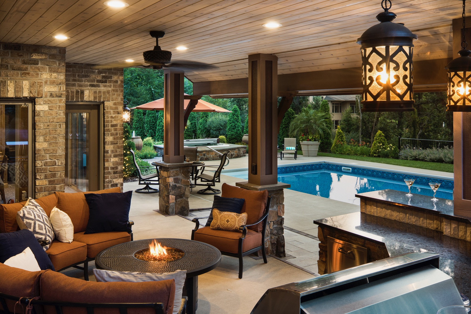 Moms Design Build - Outdoor Fireplace Furniture In ground Pool Hot Tub