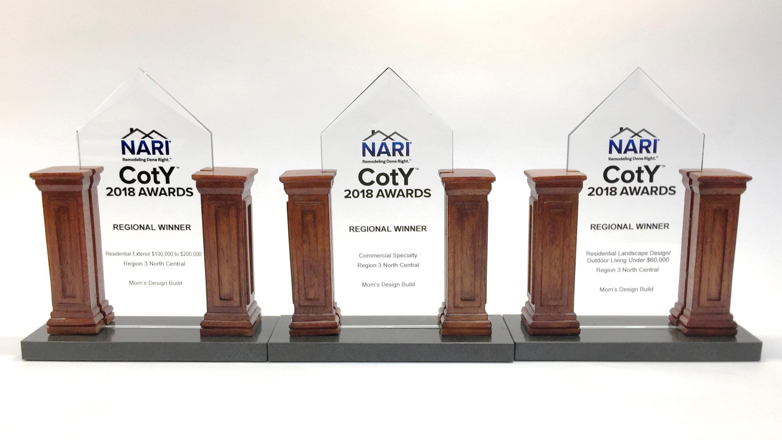 Mom's Design Build - Three Regional CotY Awards