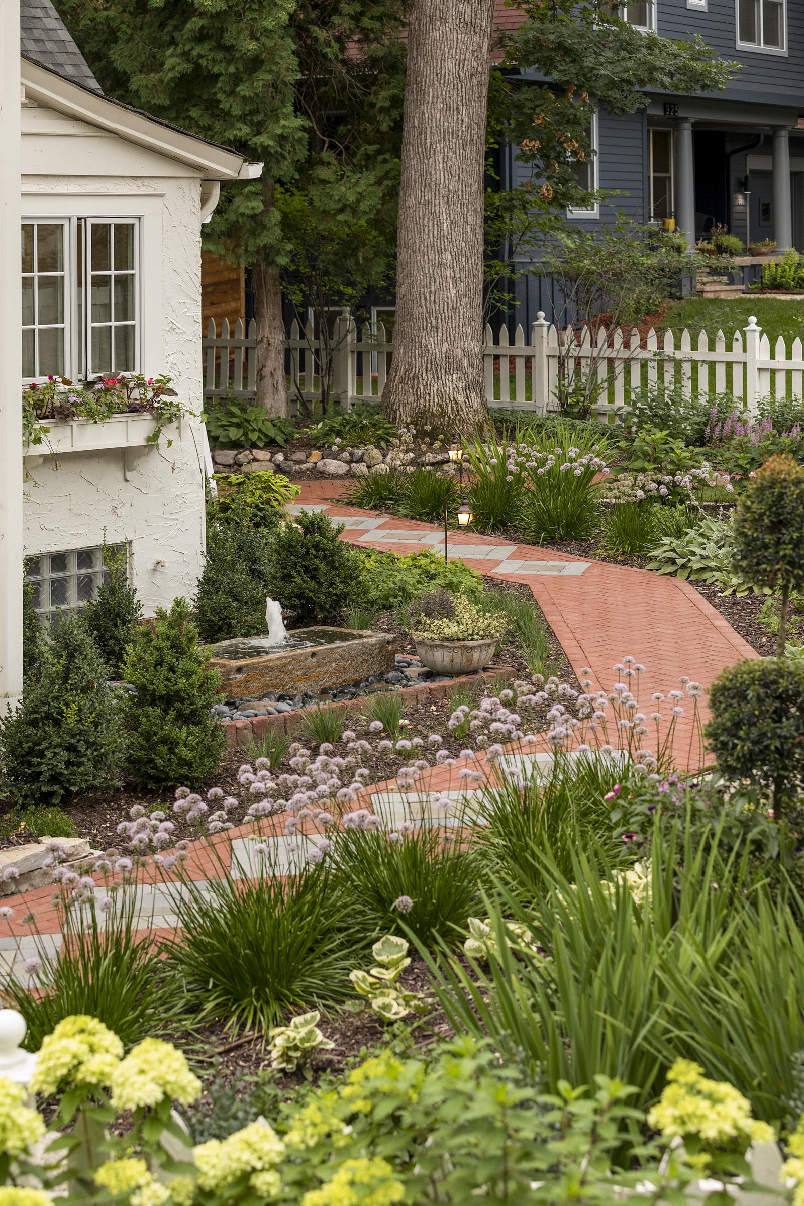 Mom's Design Build - Red Paver Garden Walkway