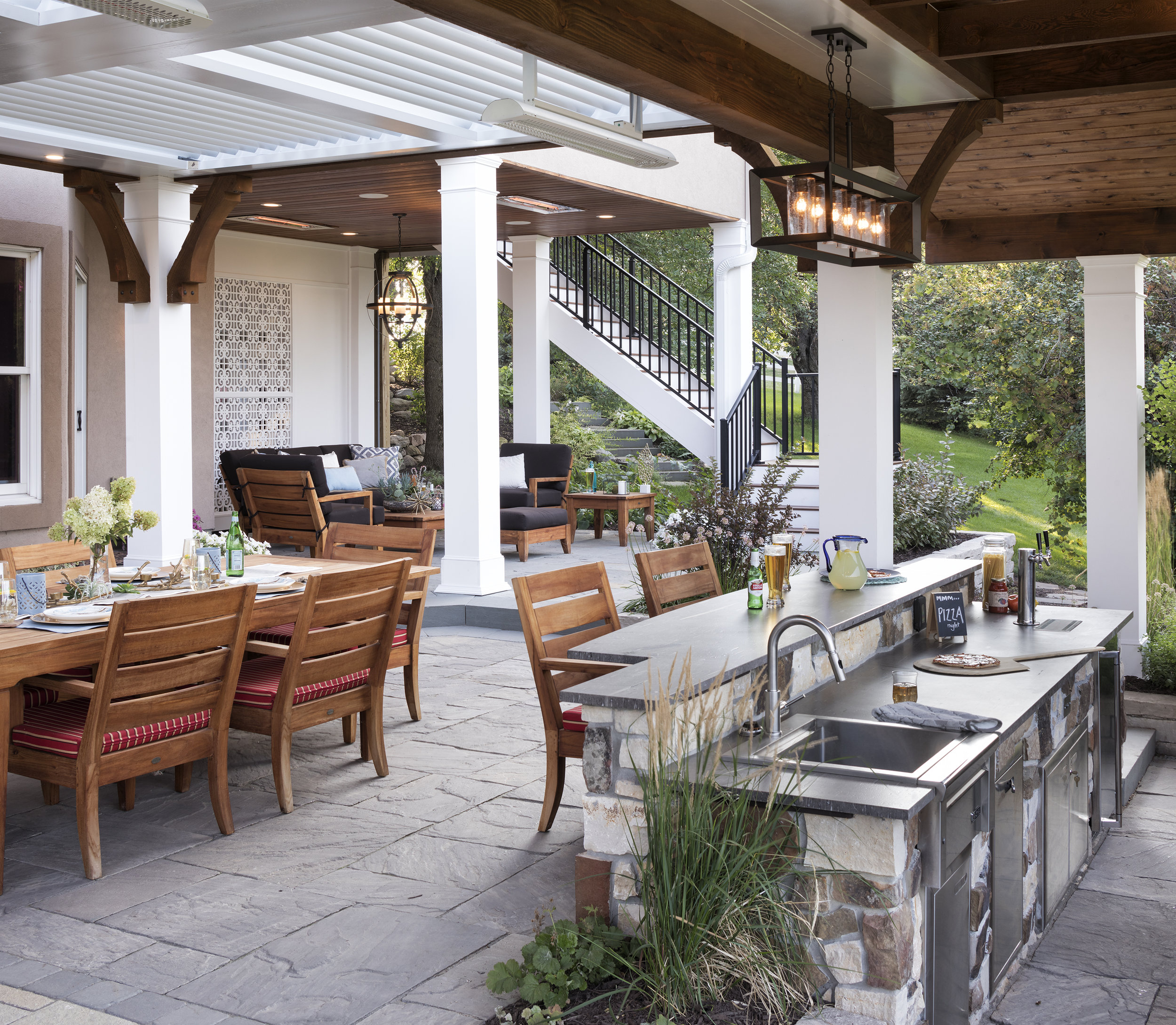 Mom's Design Build - Backyard Outdoor Kitchen Dining Table Grill