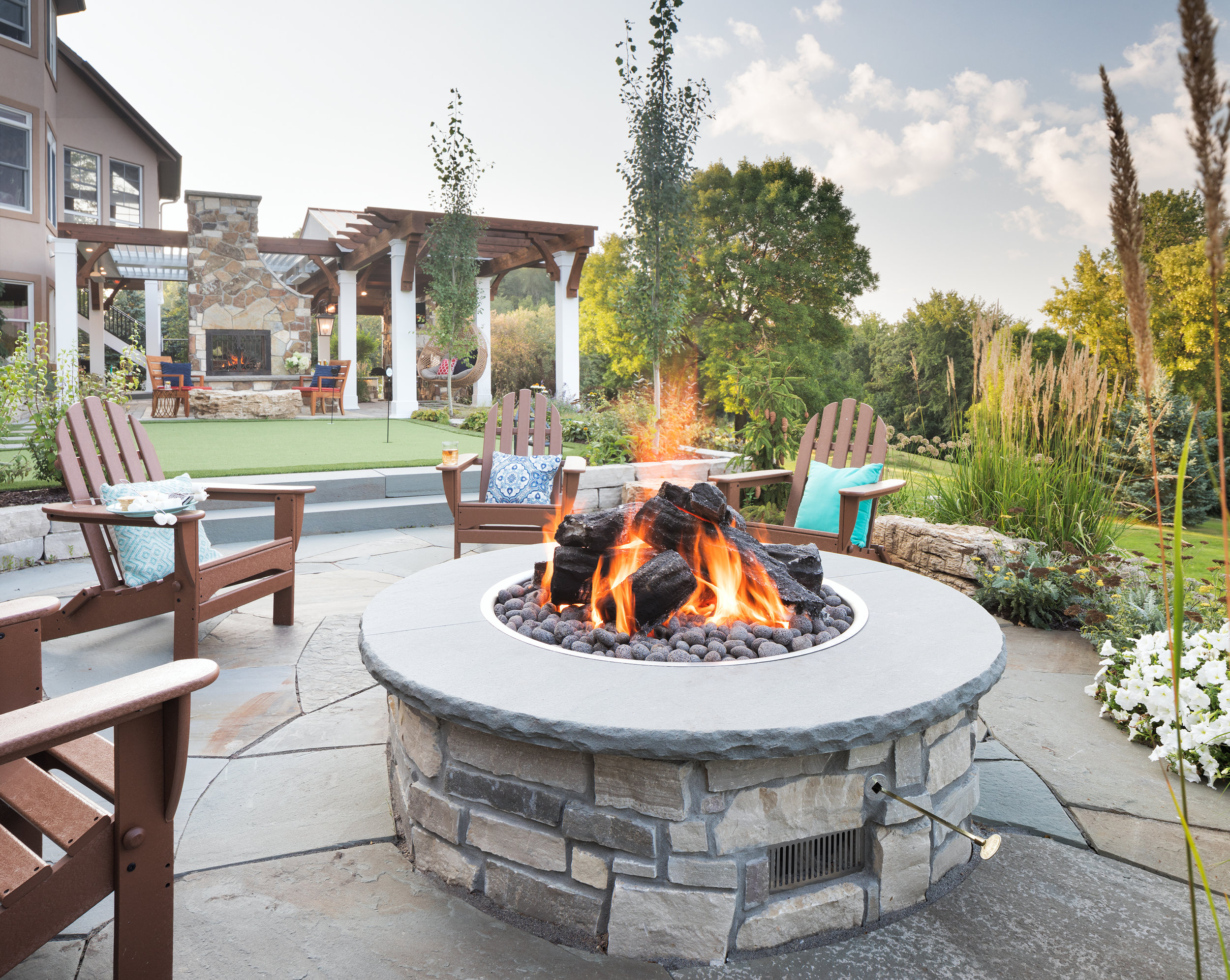Mom's Design Build - Outdoor Natural Gas Fireplace