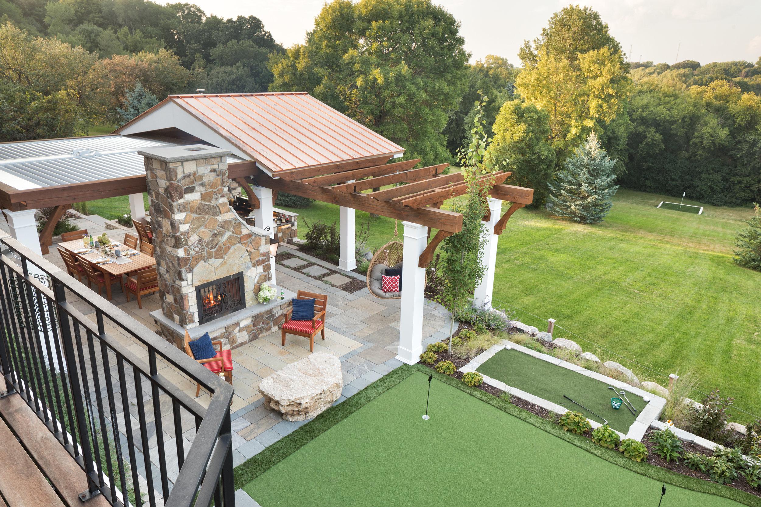 Mom's Design Build - Backyard Golf Green Putting Green Driving Range